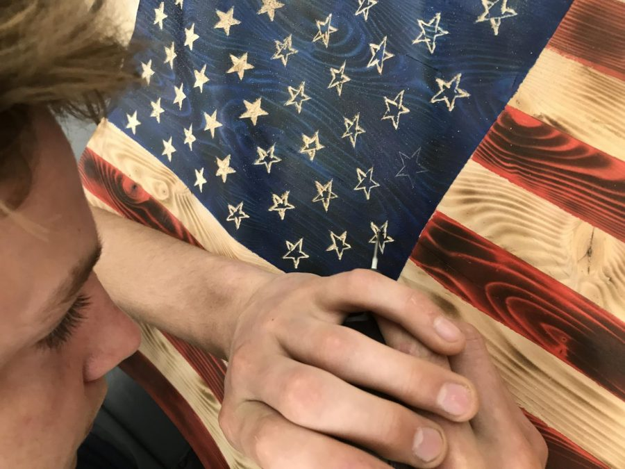 Photo courtesy of Mr. Wood. An American flag made by Brennan Poskitt in Wood Tech 3.