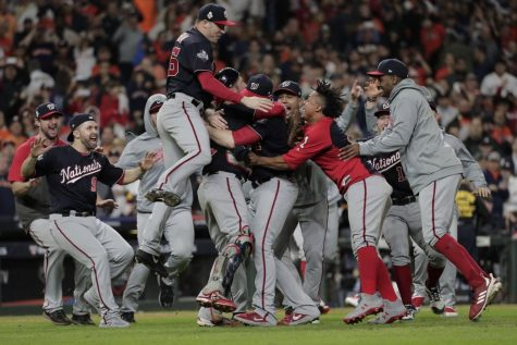 The Washington Nationals celebrate winning their first pennant in franchise history. Photo courtesy of David J. Phillip.