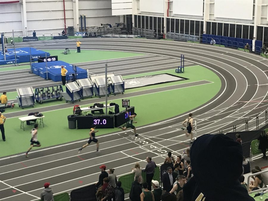 Roxbury Junior, Schafer Sembrat, crosses the finish line first in his heat and places 5th in the 300m at Morris County Championships on January 22nd.