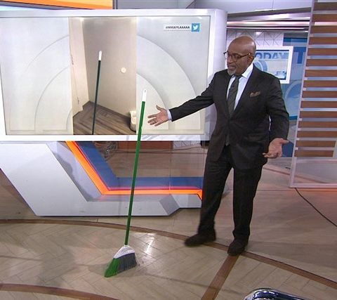 Al Roker from the Today Show joins in the fun of the broomstick challenge. Photo courtesy of the Today Show on today.com.