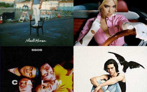 From top left to bottom right: Heartbreak Weather, Future Nostalgia, CALM, Kid Crow